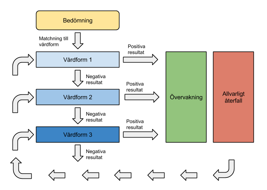 Stepped Care-modell (Fritt efter Sobell & Sobell, 2000)